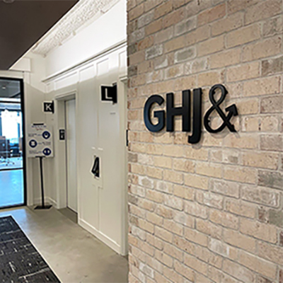 GHJ Elevator Wall with new logo